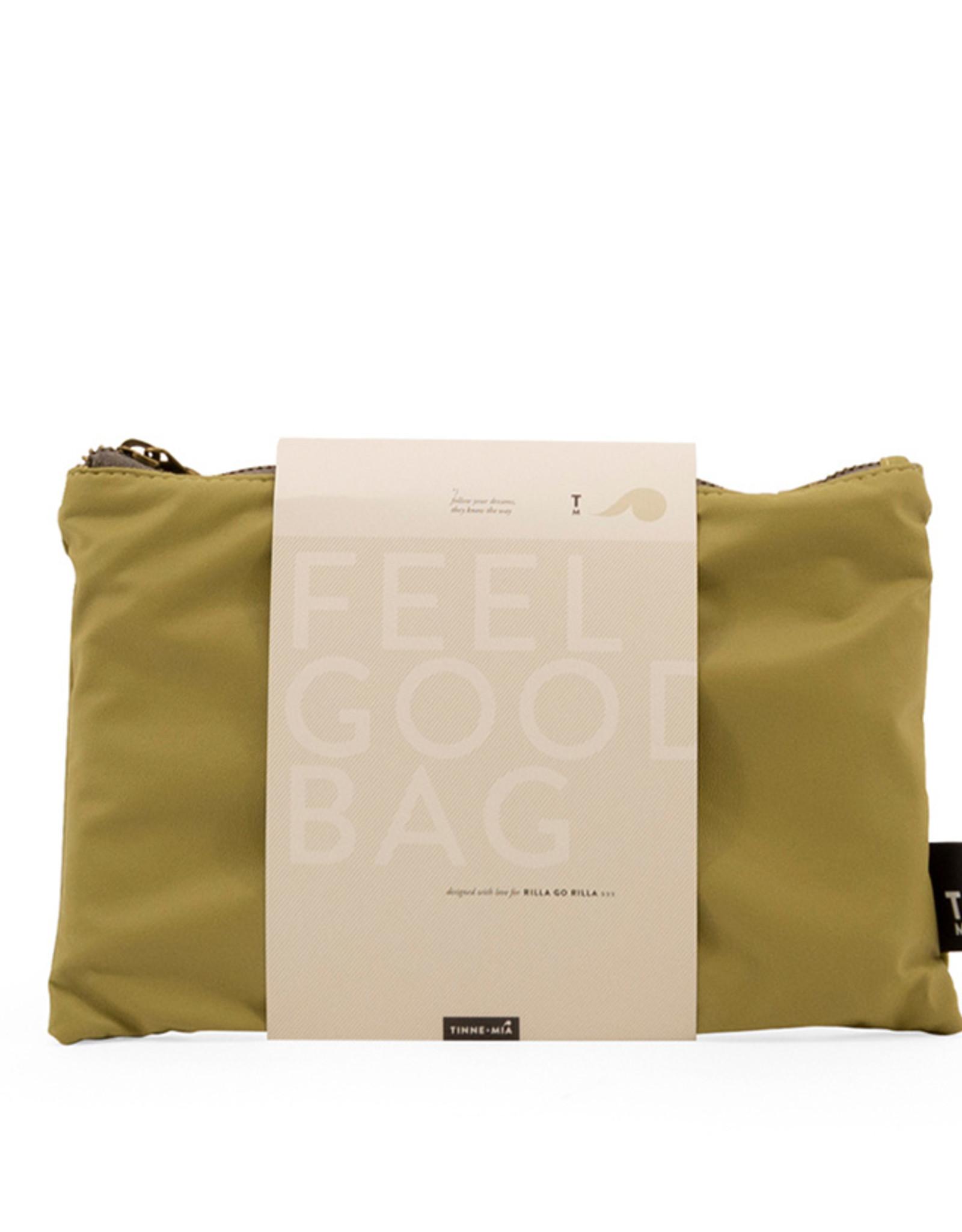 Tinne+Mia Feel Good Bag with quote-leek green