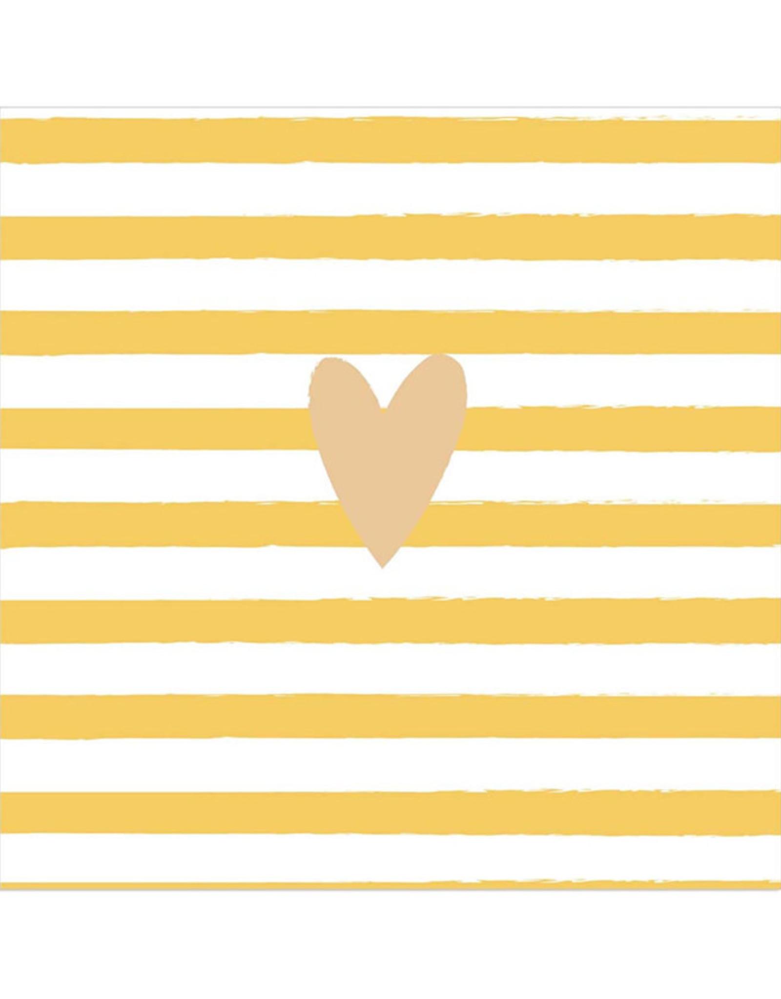 Servet Heart 33x33cm-yellow stripes/gold