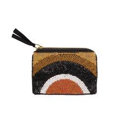 Wallet Pearls Rainbow 8x12cm-black/white/gold
