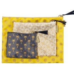 Travel Bags Set 3.pcs-grey/beige/yellow