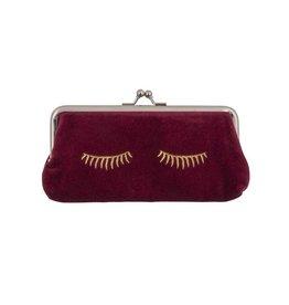 Wallet Clip Velvet Sleepy Eyes 9x18cm-bordeaux