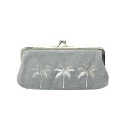 Wallet Clip Velvet Palm tree 9x18cm-soft blue