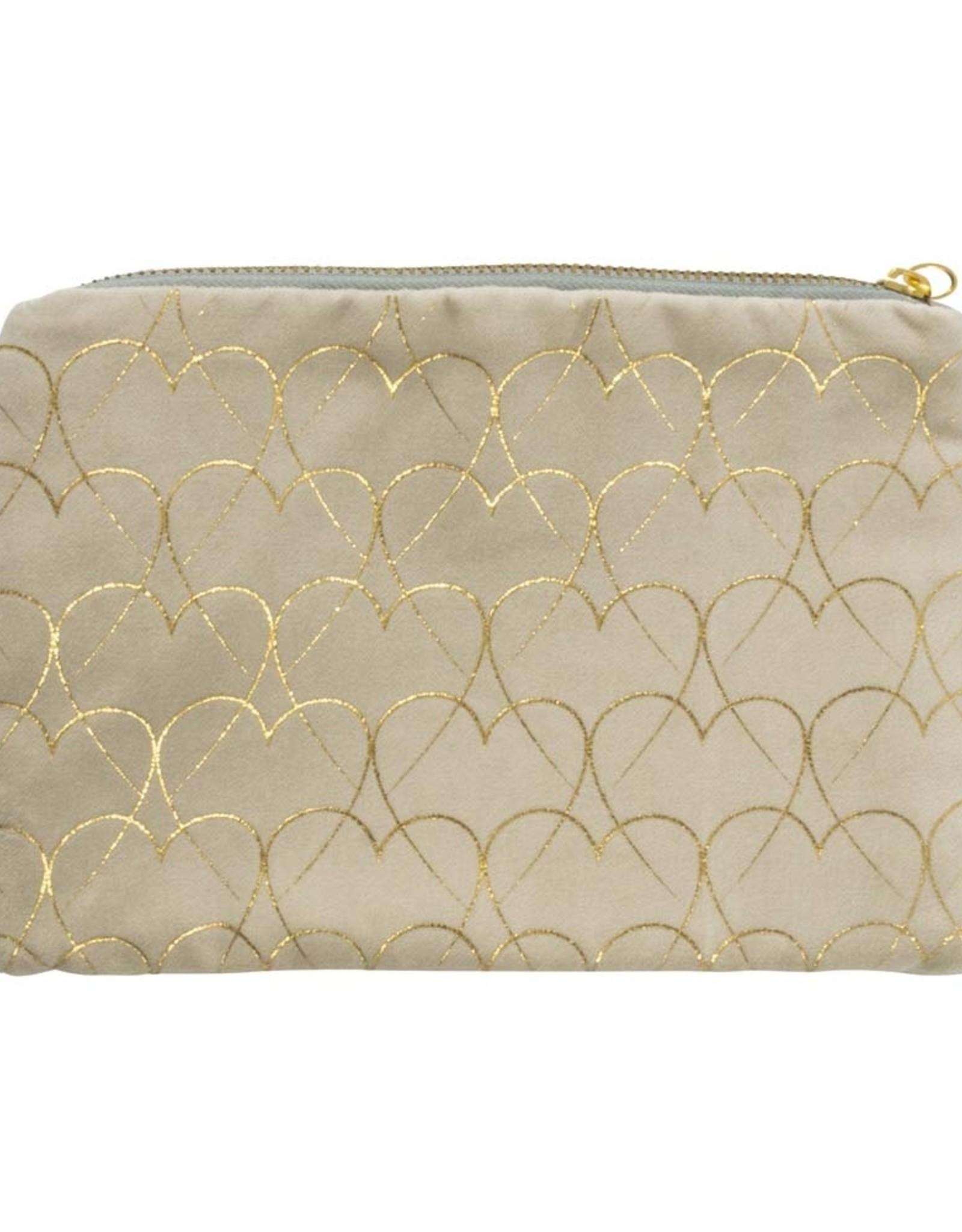 Cosmetic Bag Velvet Hearts-beige