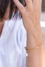 Ellen Beekmans Armband Schakel Oval-gold/pearl