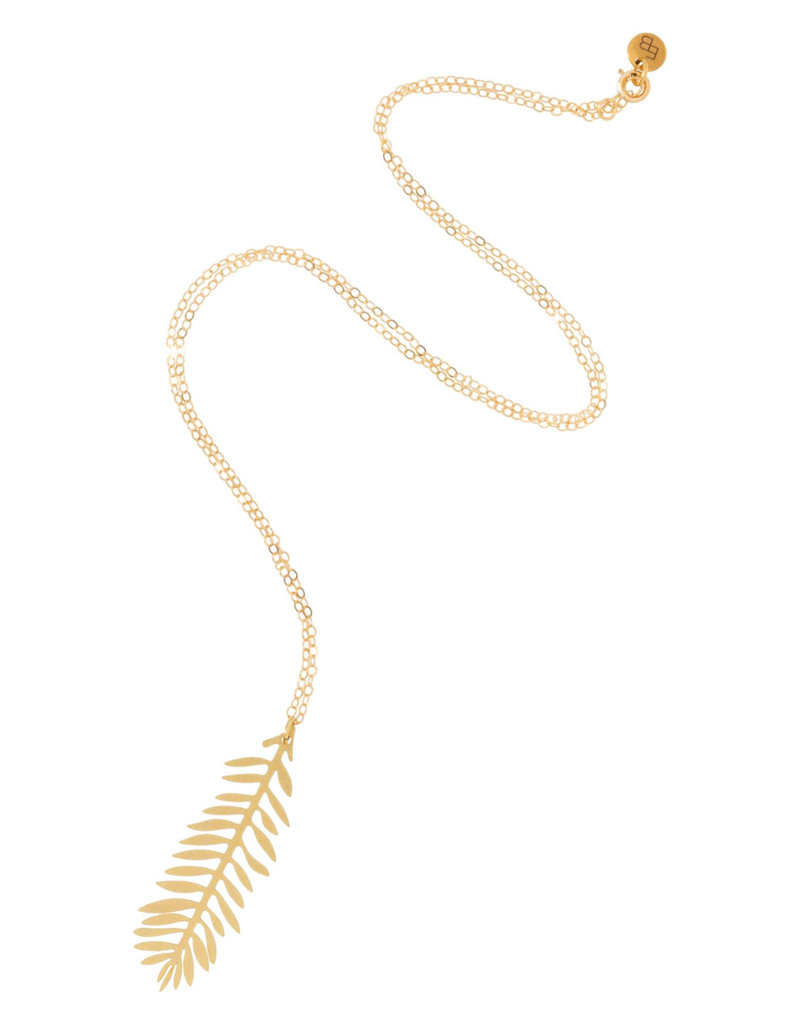 Ellen Beekmans Ketting Fine Leaf-gold/white