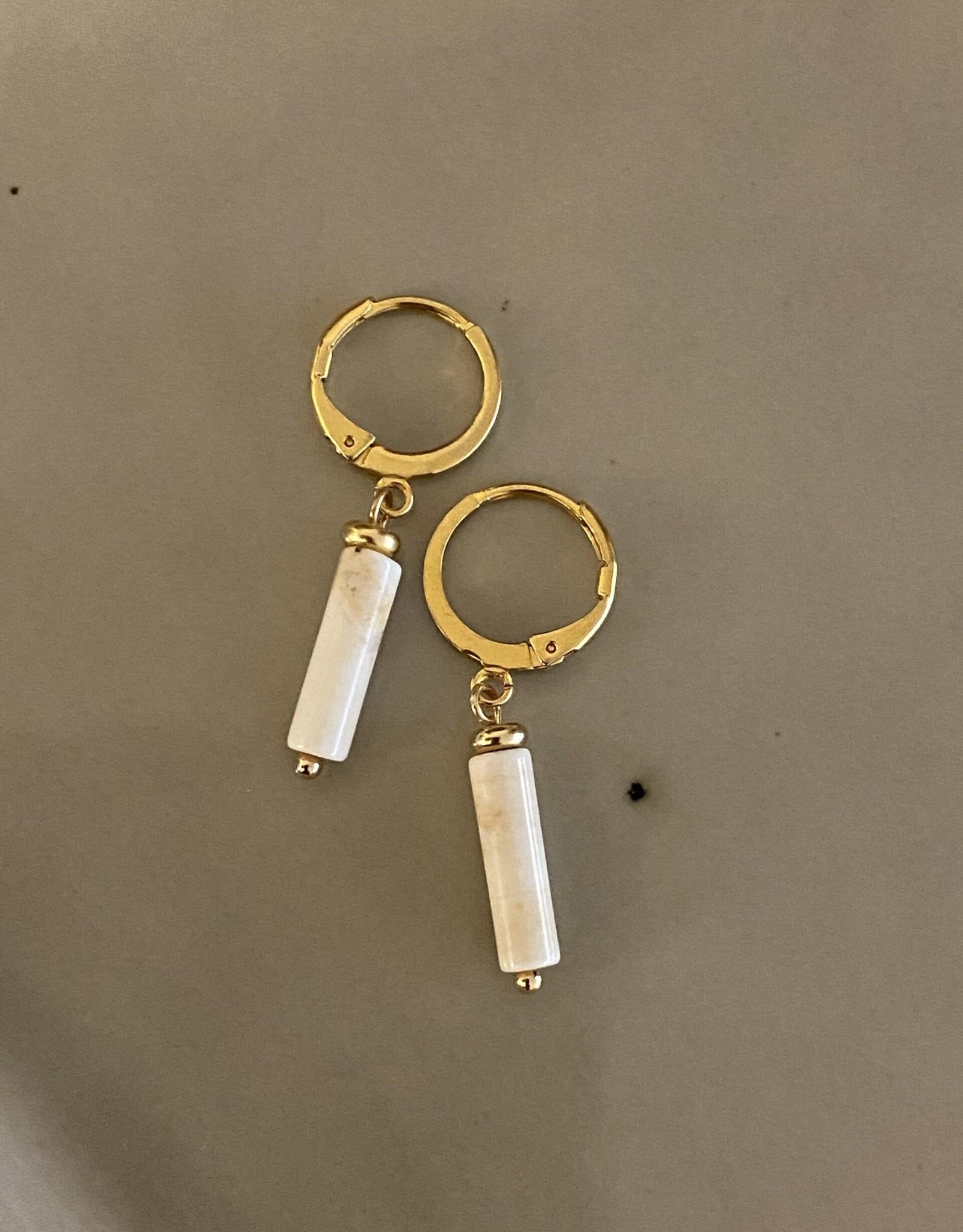 Ellen Beekmans Oorbellen Creole Gemstone Tube-gold/white