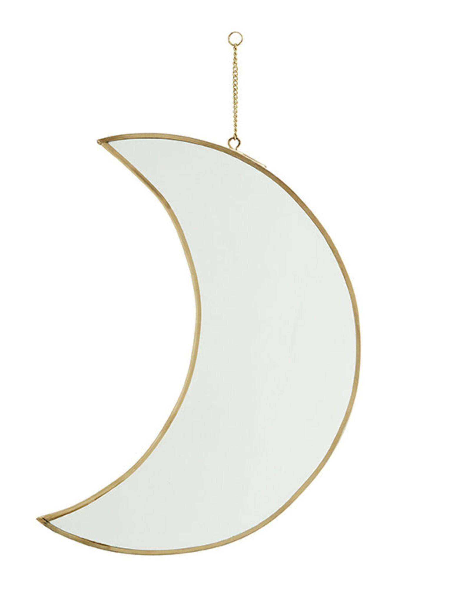 Madam Stoltz Hanging Mirror Moon Large 30cm-gold