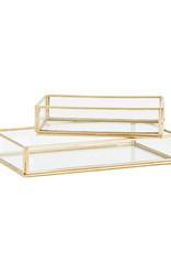 Madam Stoltz Tray Set Glass-gold