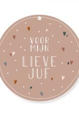 Kaart Rond Lieve Juf-roze