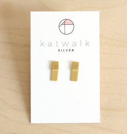 Katwalk Silver Oorbellen Dangle Square 2-in-1-gold