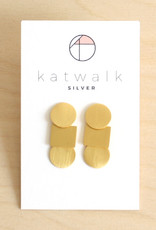 Katwalk Silver Oorbellen Dangle Circle Square Circle-gold