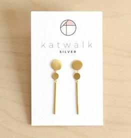 Katwalk Silver Oorbellen Dangle Circles Stripe-gold