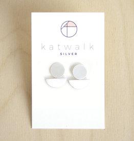 Katwalk Silver Oorbellen Dangle Half Moon-silver