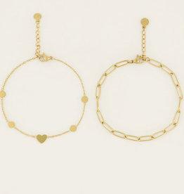 My Jewelry Armbanden SET Little Hearts/Schakel-gold
