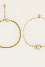 My Jewelry Armbanden SET Heart/Schakel-gold