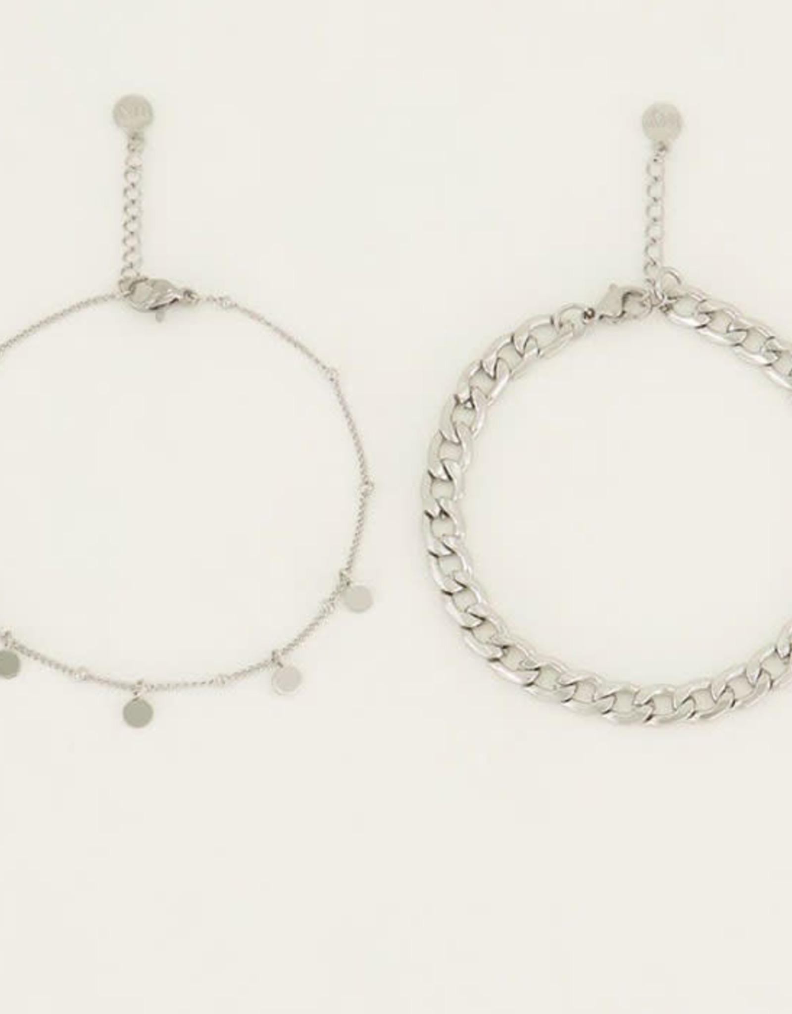 My Jewelry Armbanden SET Coins/Schakel-silver