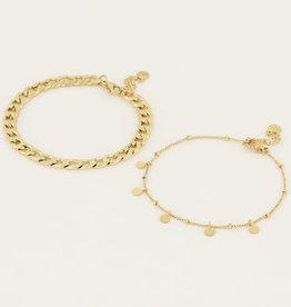 My Jewelry Armbanden SET Coins/Schakel-gold