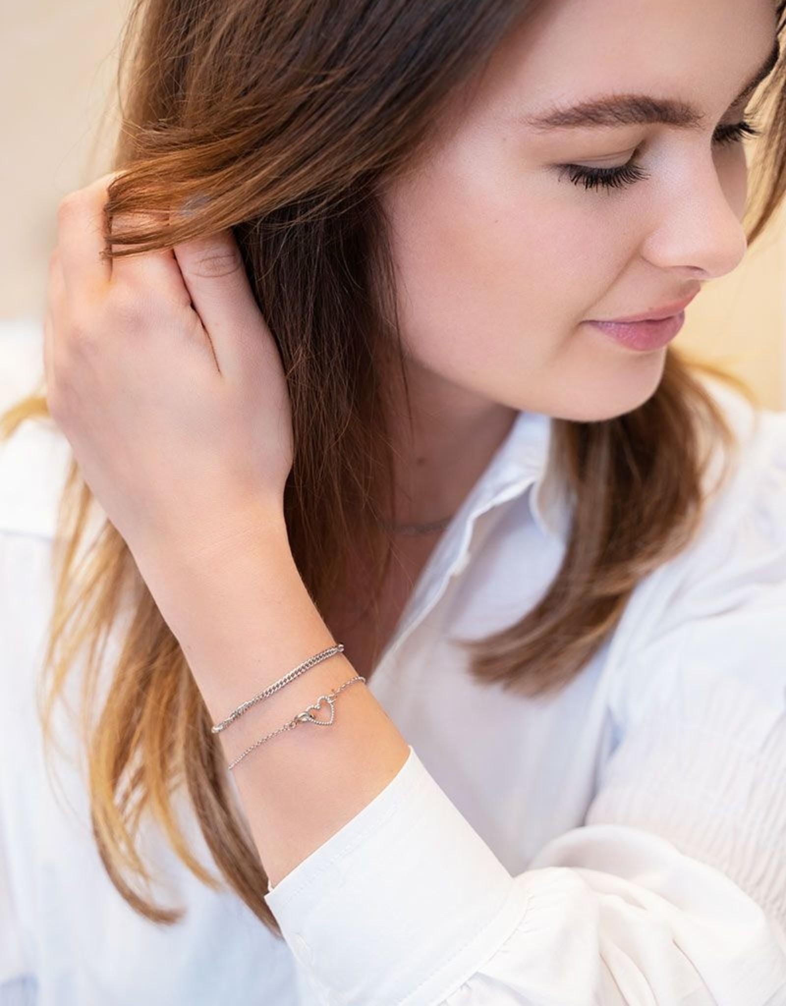 My Jewelry Armbanden SET Heart/Schakel-silver