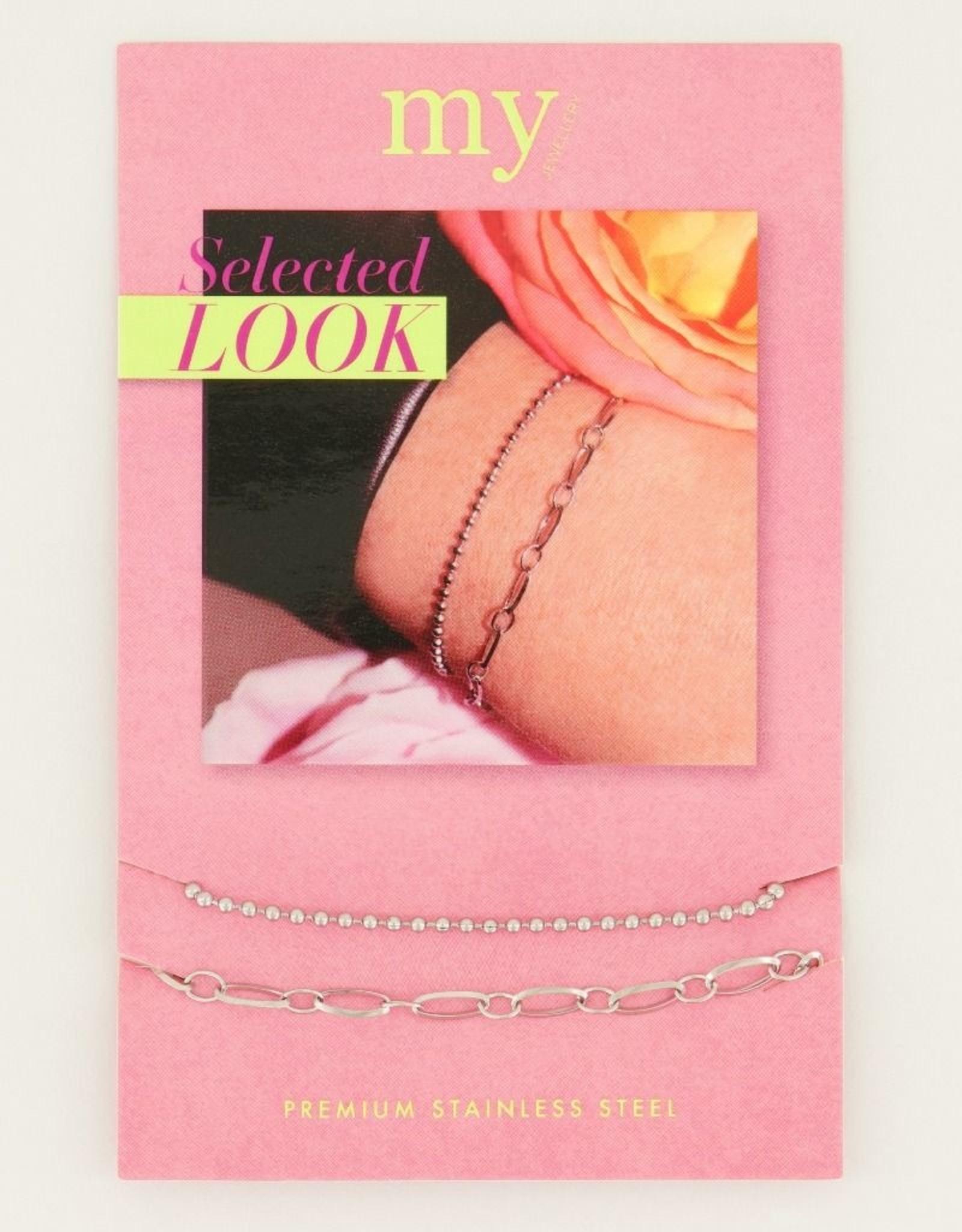 My Jewelry Armbanden SET Dots/Schakel-silver