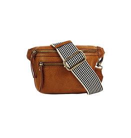 O My Bag Beck's Bum Bag / Checkered Strap-cognac (stromboli leather)