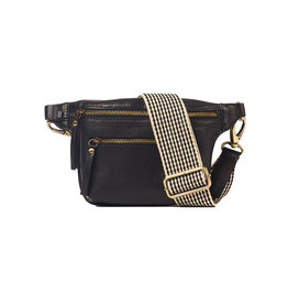 O My Bag Beck's Bum Bag / Checkered Strap-black (stromboli leather)