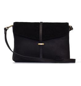 O My Bag Handtas Ella Midi-black (suède & soft grain leather)