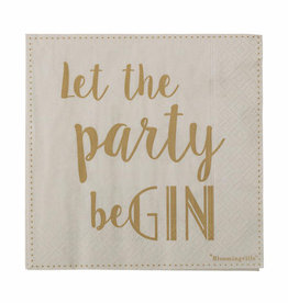 Servet 'Let The Party Be Gin' 33x33cm-gold