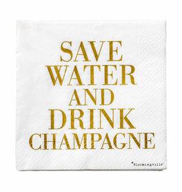 Servet 'Save Water Drink Champagne' 33x33cm-white