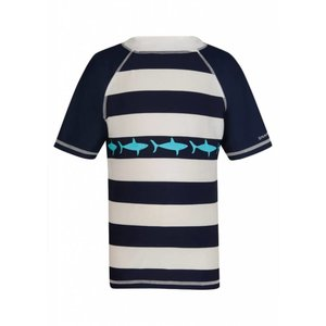 UV beschermend shirt Donkerblauw en wit gestreept met haaien - Snapper Rock