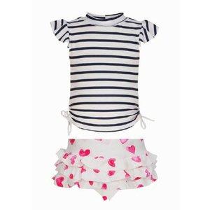 UV-werend shirt met rokje voor meisjes donkerblauw/wit met hartjes - Snapper Rock