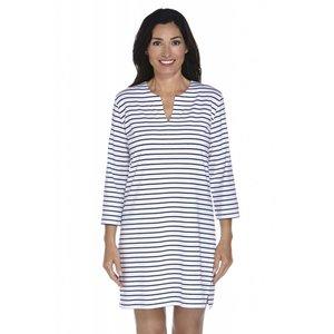 Tuniek / strandjurk vrouwen UPF50+ - Navy/Wit Stripe - Coolibar