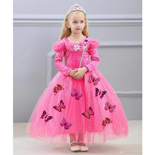 Het Betere Merk Prinsessenjurk - Roze Verkleedjurk - Vlinders - maat 98, 104/110, 110/116, 122/128, 134/140
