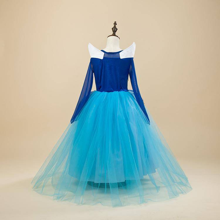 Aurora Prinsessenjurk - luxe - BLAUW maat 98, 104/110, 110/116, 122/128, 134/140