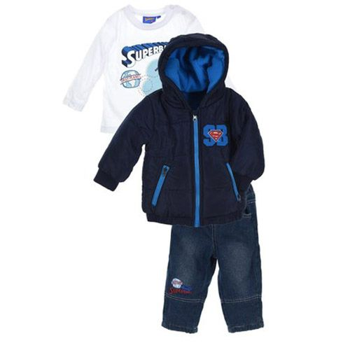 Superman Superman 3-delig set, winterjas, jeans, shirt 6, 12, 18, 24 maanden