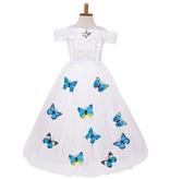 Prinsessenjurk witte verkleedjurk vlinders +  8-delig accessoireset