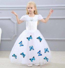 Prinsessenjurk WIT - vlinders