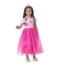 Prinsessenjurk - roze - + gratis staf + kroon