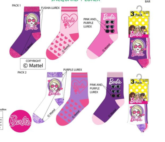 Barbie sokken - 3  paar 23/26,  27/30, 31/34