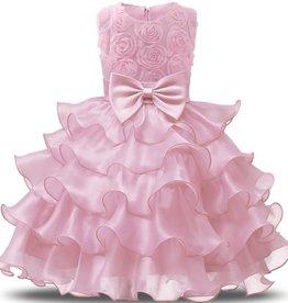 Prinsessenjurk - roze feestjurk ruches