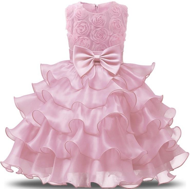 Prinsessenjurk - roze feestjurk ruches maat 98/104, 110, 116/122, 122/128, 128/134