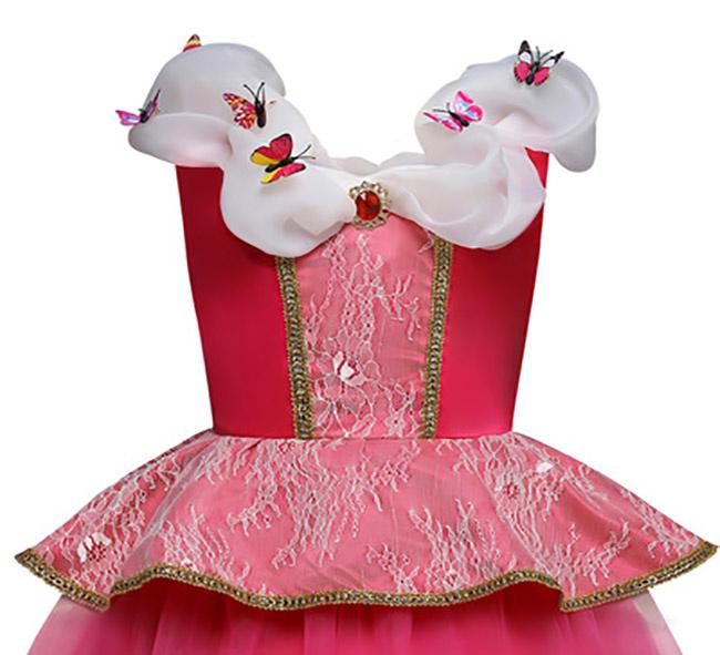 Roze prinsessenjurk -  kleine vlinders 98/104, 110, 116/122, 128/134, 140