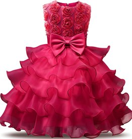 Prinsessenjurk - roze/fuchsia feestjurk ruches
