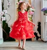 Prinsessenjurk - rode feestjurk maat 86/92, 98/104, 110/116, 122/128