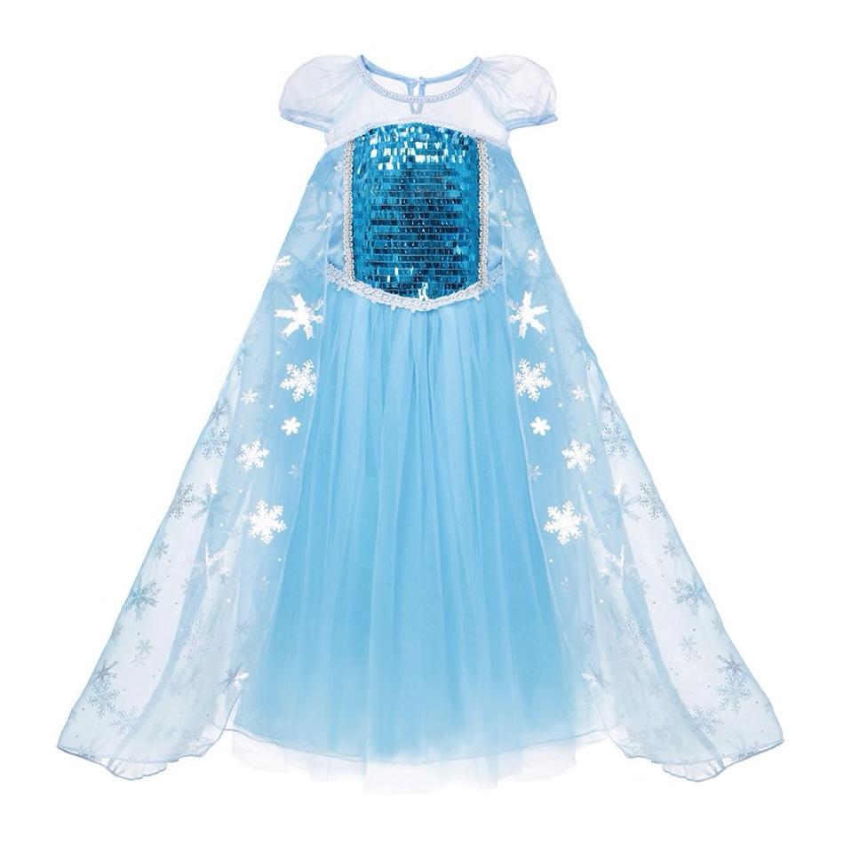 Het Betere Merk Frozen Elsa luxe verkleedjurk - gratis Frozen shopper - luxe ijsster 98/104, 110, 116/122, 128/134 , 140,146