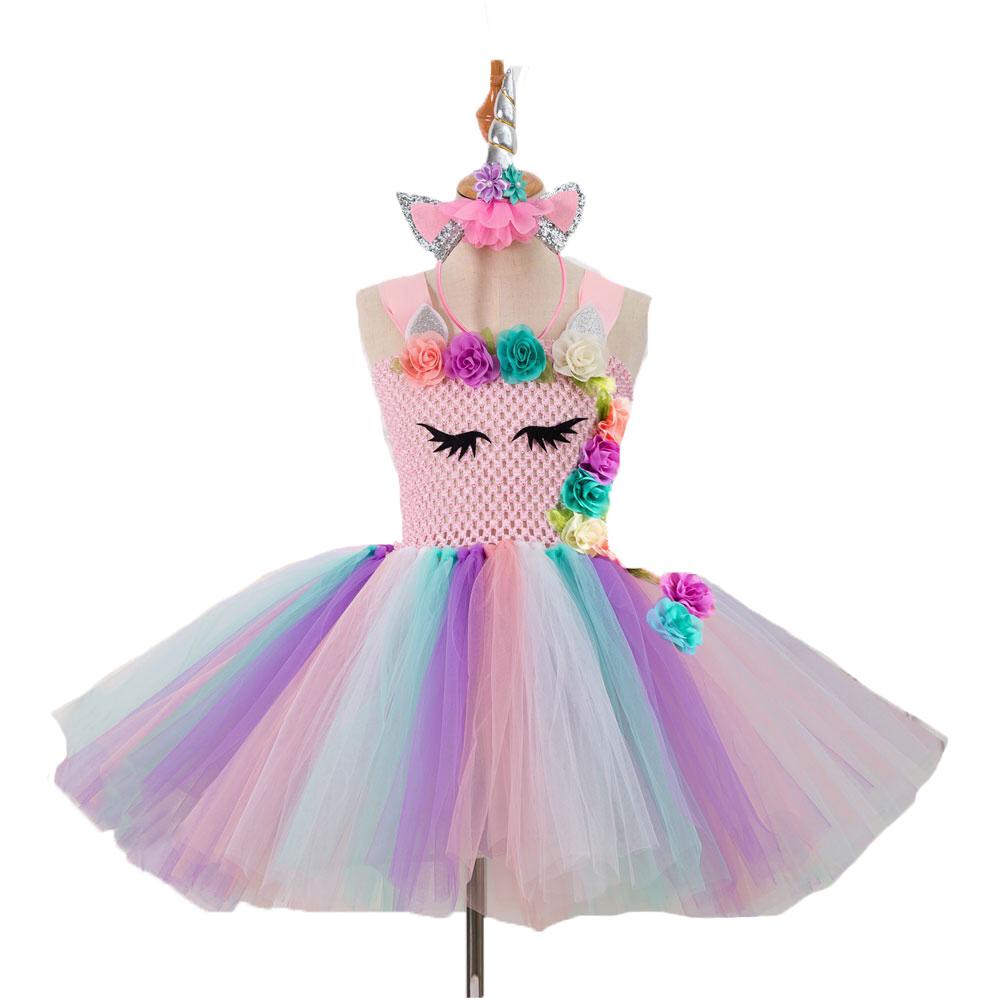 Eenhoorn roze verkleedjurk + gratis haarband 92/98, 104/110, 116/122, 128/134, 140/152