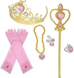 Prinsessen 6-delig roze/goud accessoireset