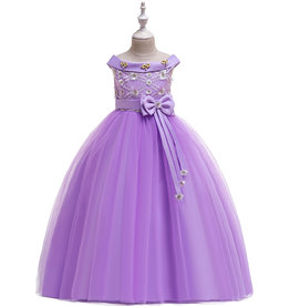 Prinsessenjurk - lange paarse feestjurk - communiejurk