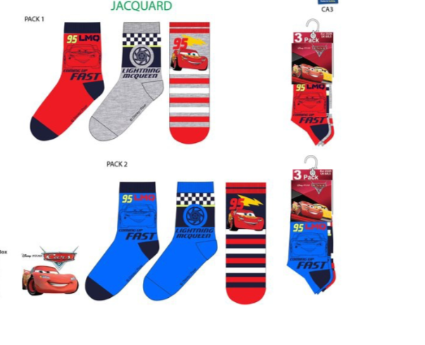 Disney Cars 6 paar sokken + gratis gymtas mt 23/26, 27/30, 31/34