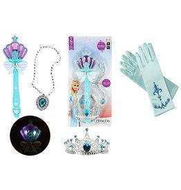 Toi-Toys Dress-Up Set, magische staf - 32 cm, kroon, ketting, handschoenen