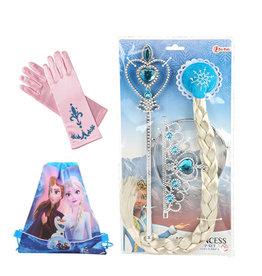 Frozen Elsa 4-delig accessoireset - roze  + gratis Frozen gymtas